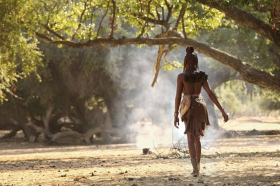 Himba women walking in morning light
