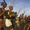 warriors dancing at the Kara bull jumping ceremony, Omo Valley, Ethiopia