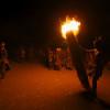 Torch burning at the Kara bull jumping ceremony, Omo Valley, Ethiopia