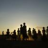 Children dancing at sunset, Omo Valley, Ethiopia