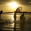 Molo tribesmen fishing in Lake Turkana, Northern Kenya