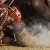 Samburu warrior making fire, Northern Kenya