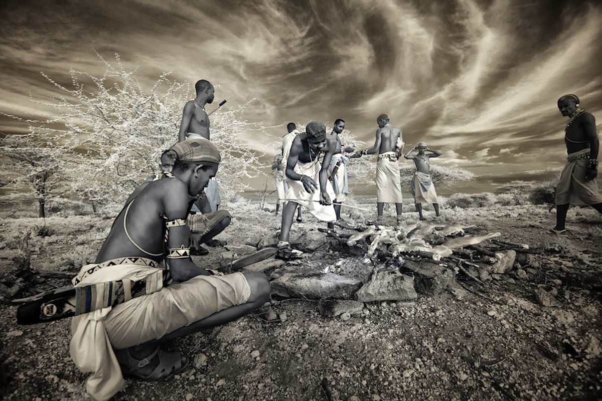 Samburu tribe warriors at a ceremony in Kenya