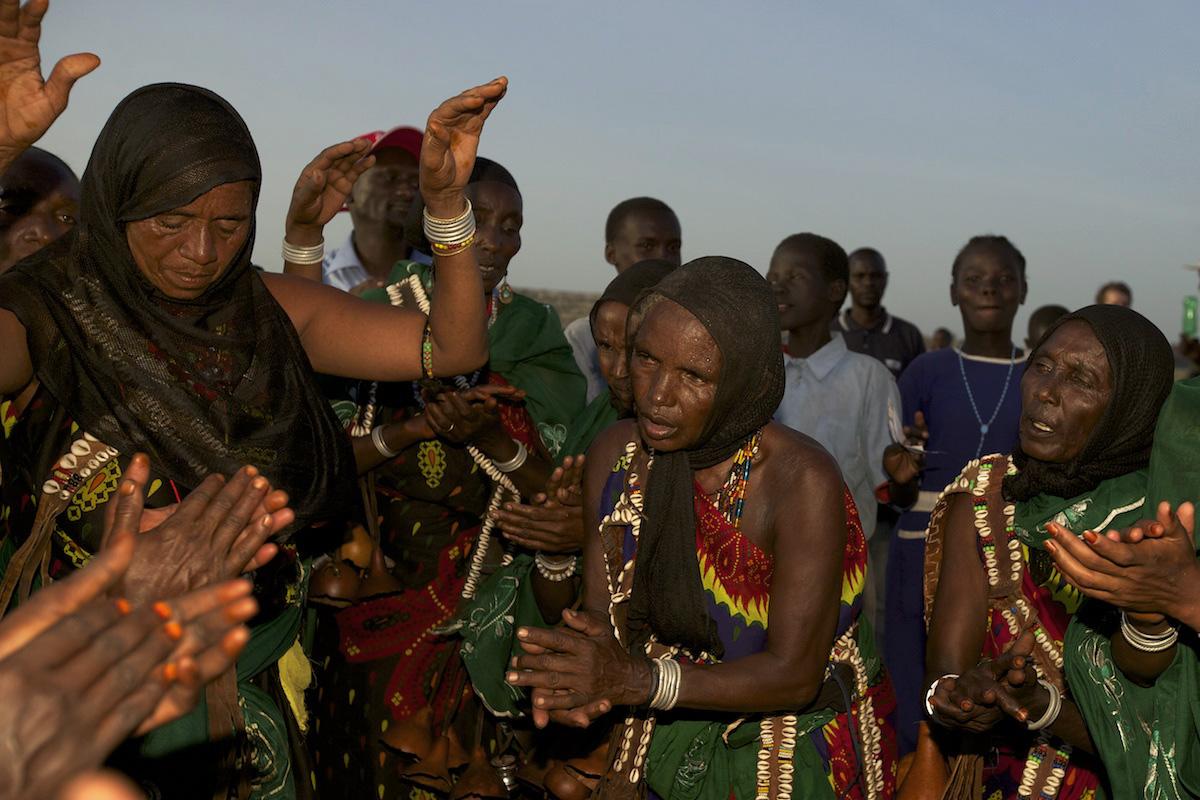 Borana tribe singing and dancing at the Turkana Festival, Kenya